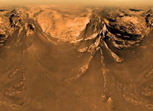 Surface de Titan photographiée par la sonde Huygens à 10 km d'altitude