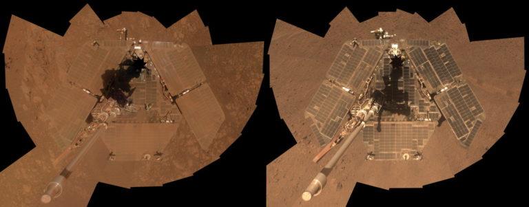 Poussière de Mars sur le rover Opportunity