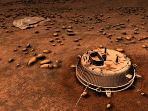 Vue d'artiste de la sonde Huygens posée sur le sol de Titan