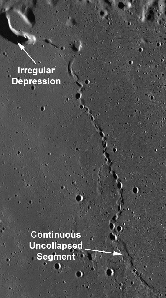 Photo satellite d'un tunnel de lave sur la Lune