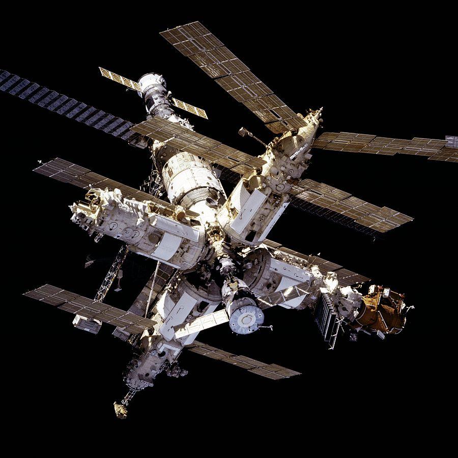 La station Mir vue de l'espace.