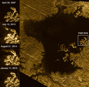 Photo radar de la mer d'hydrocarbures Ligeia Mare