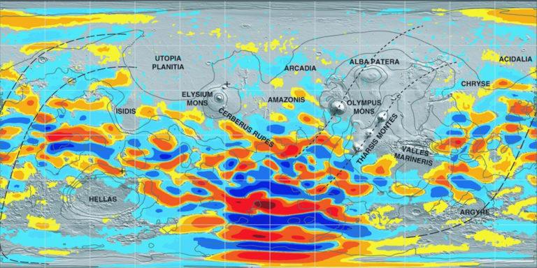 Carte du champ magnétique de Mars