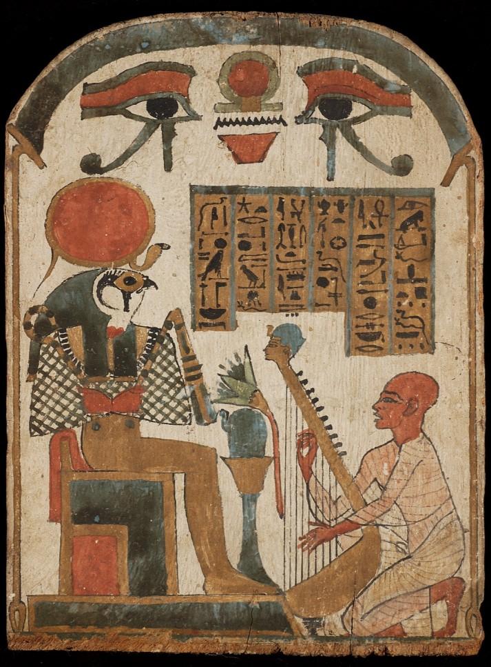 Bois stuqué et peint représentant Rê-Horakhty