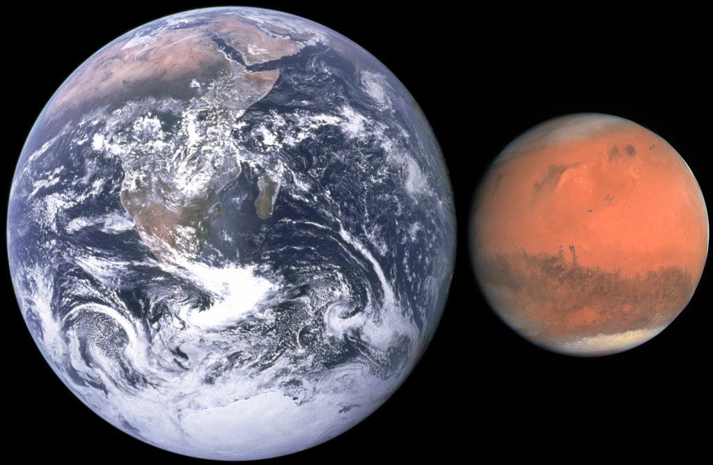Comparaison entre la Terre et Mars