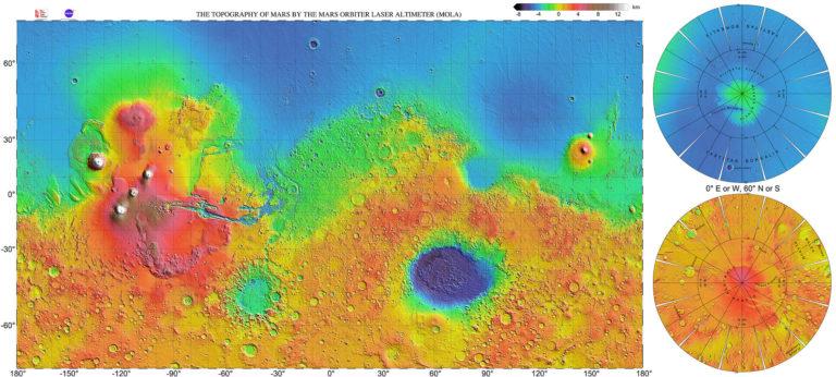 Carte de la topographie de Mars