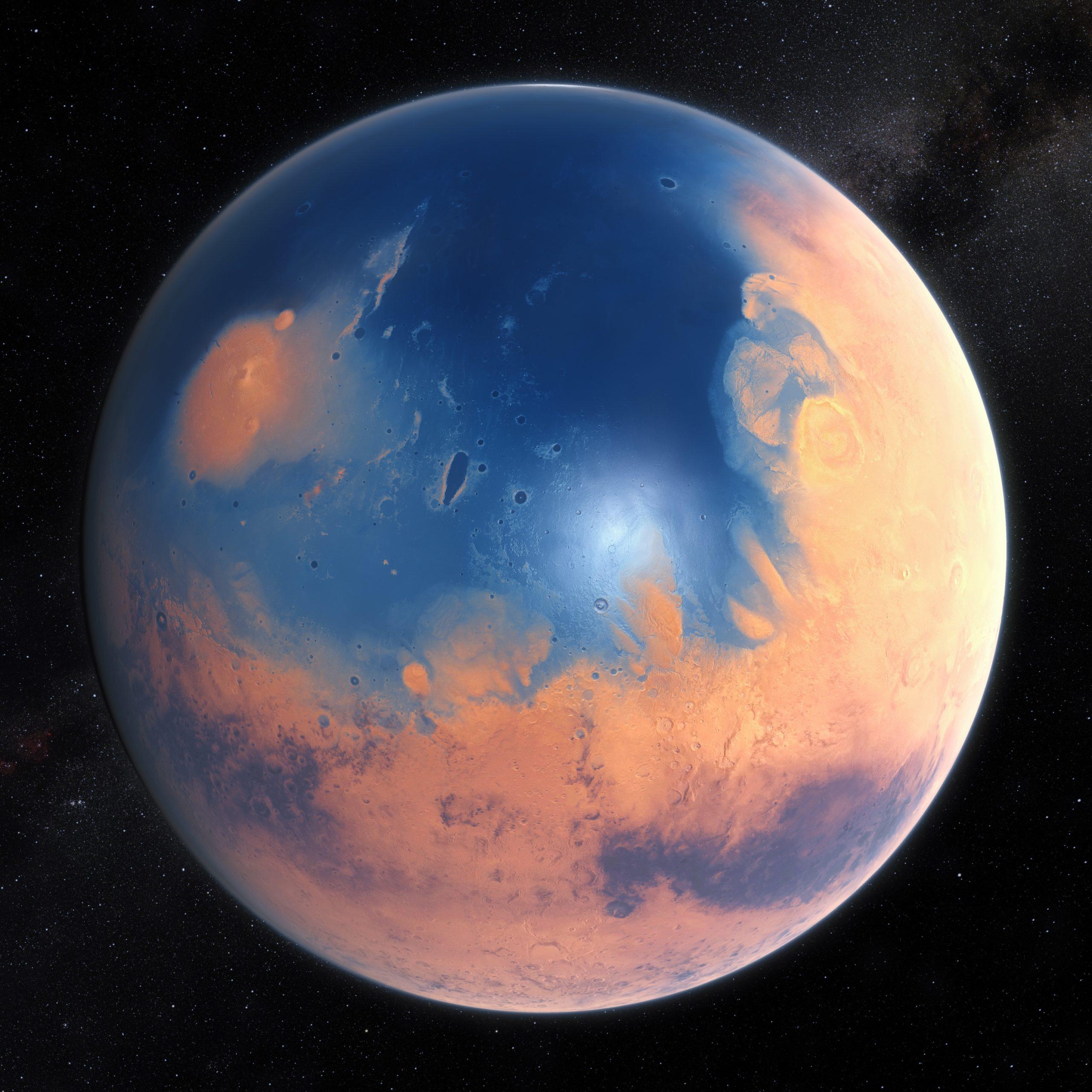 Vue d'artiste de la planète Mars il y a 4 milliards d'années