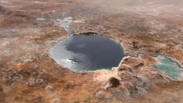 Illustration du cratère de Jazero inondé