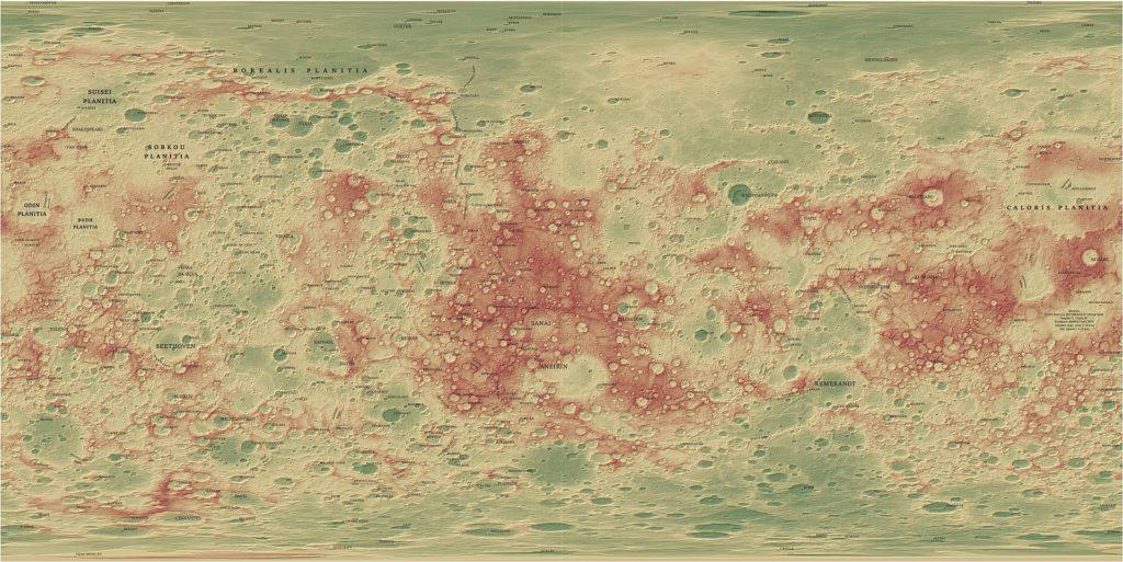 Carte topographique de Mercure