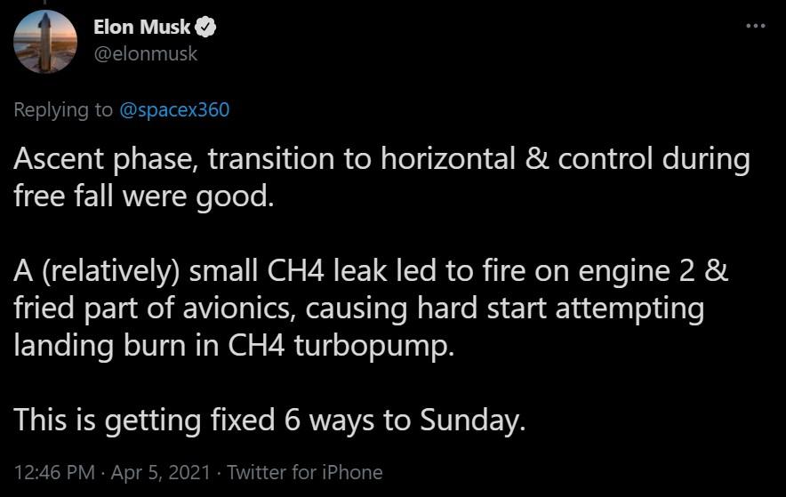 Tweet d'Elon Musk